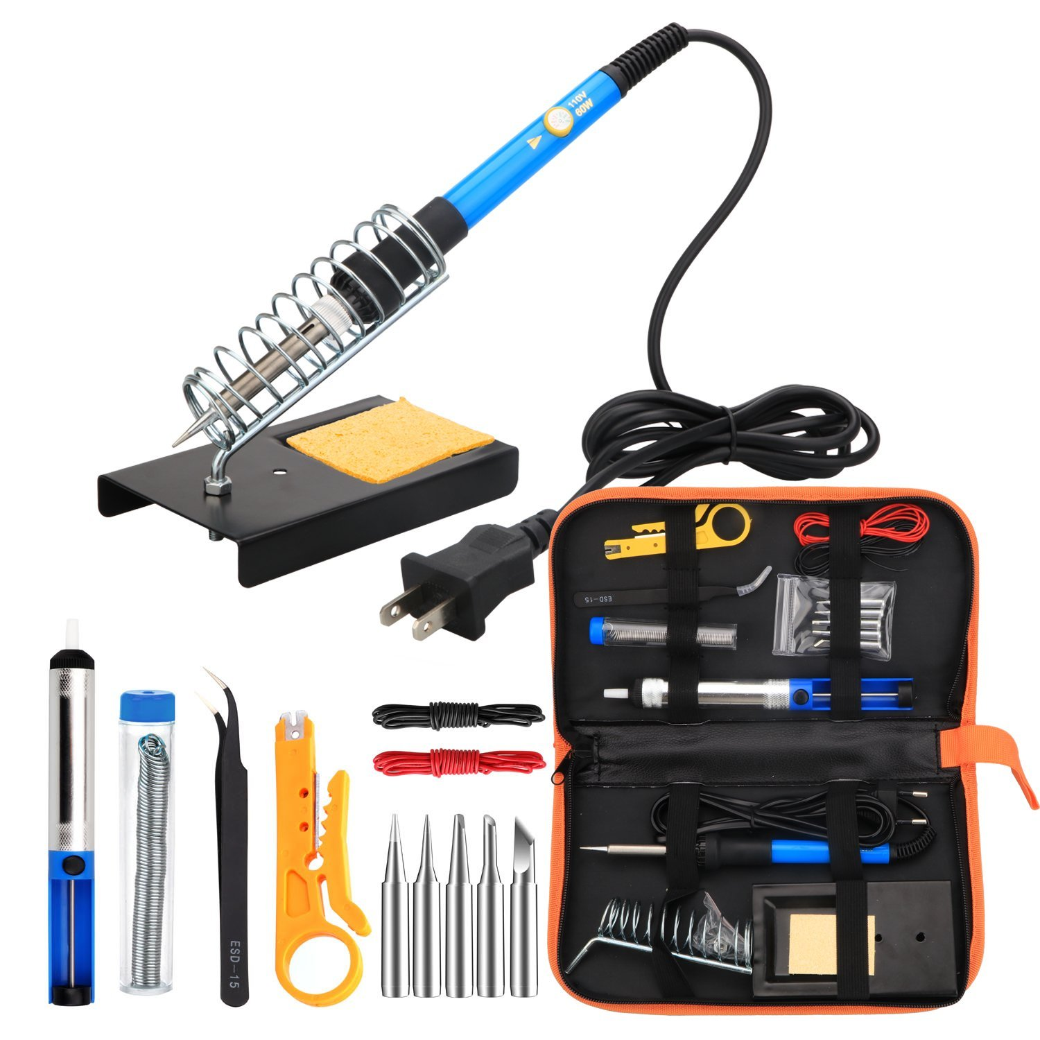 ANBES Soldering Iron Kit Electronics, 60W Adjustable Temperature Welding Tool, 5pcs... by LIVEDITOR LIGHTING