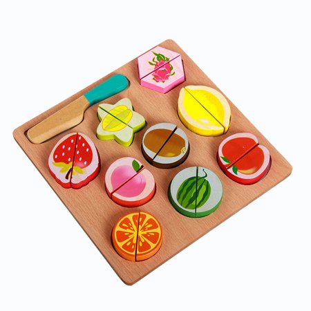 Wooden Fruit and Vegetables Play Kitchen Food for Pretend Cutting Food Toys Educational Playset with Toy Knife, Cutting Board Kids Children Christmas Gift - image 6 of 6