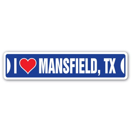 I LOVE MANSFIELD, TEXAS Street Sign tx city state us wall road décor gift for $<!---->