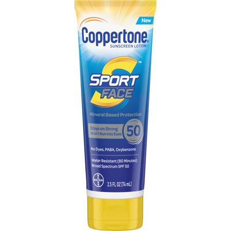 Coppertone Sport Face SPF 50 Sunscreen Mineral Based Lotion, 2.5 fl