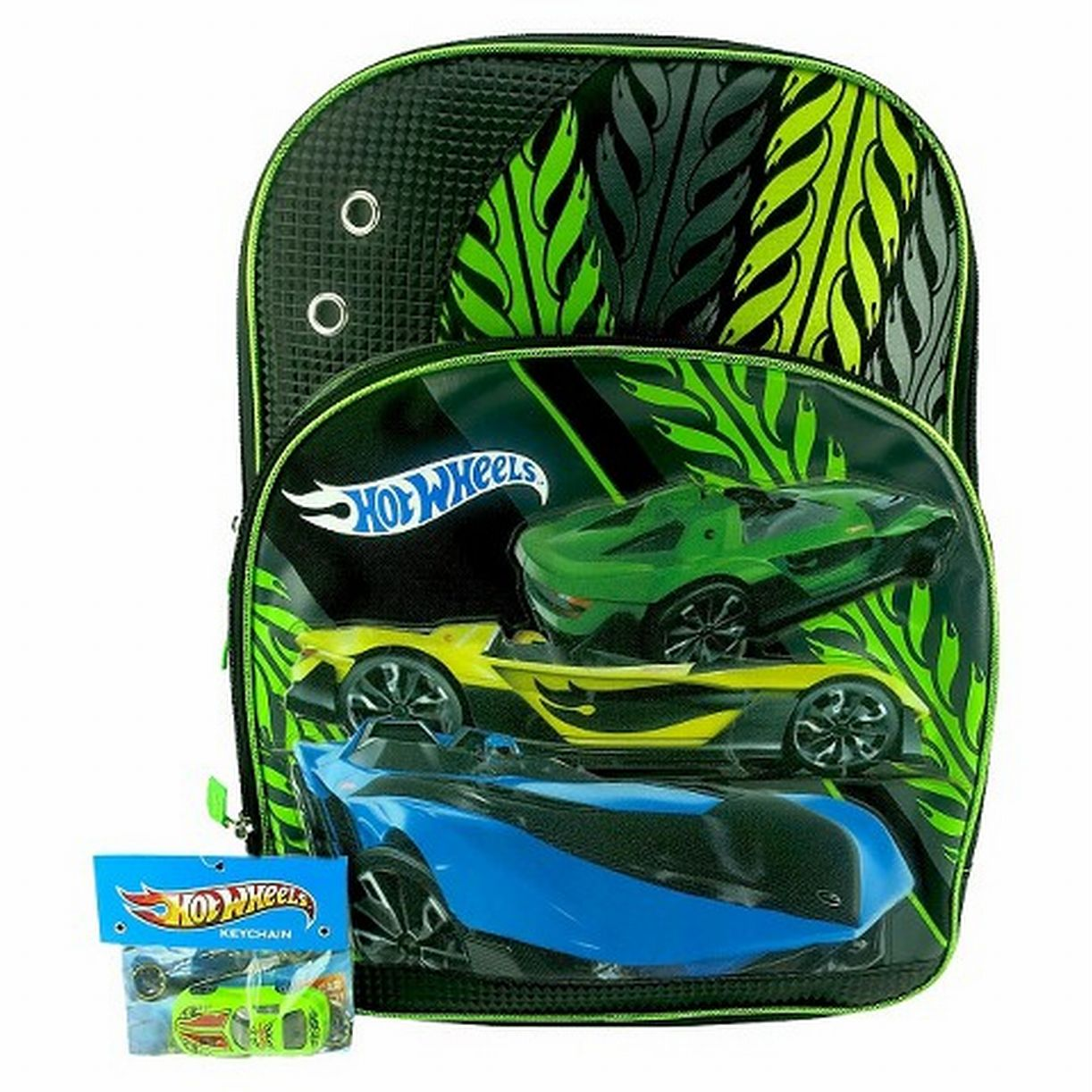 Hot wheels 16 quot racing car backpack with toy car keychain travel school