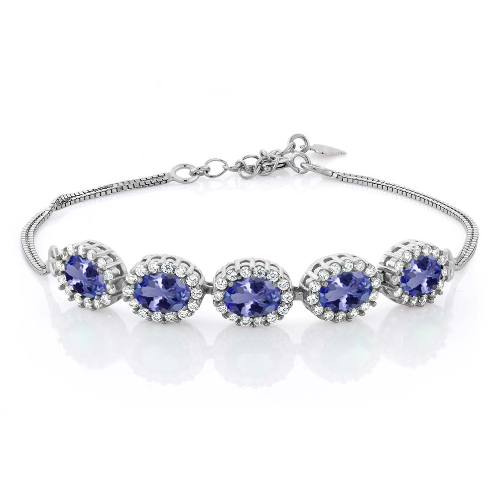 4.79 Ct Oval Blue Tanzanite AAAA 925 Sterling Silver Bracelet by