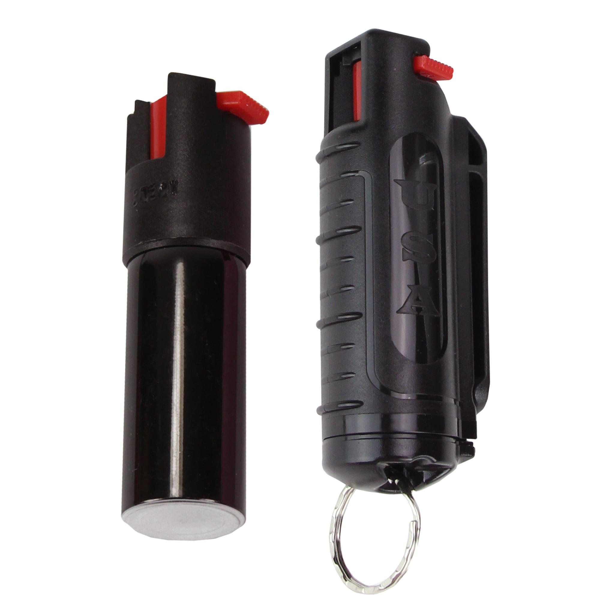 Pepper Spray with Hard Case Key Ring Belt Clip - Black (0.5 oz)