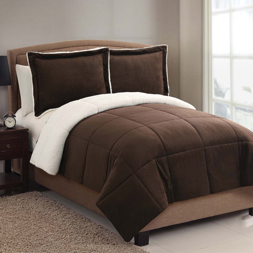 VCNY Home Solid Micro Mink Sherpa Bedding Comforter Set