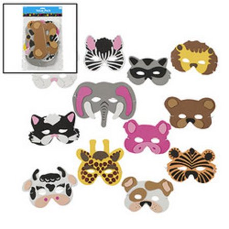 Lot of 12 Child Size Foam Zoo Animal Masks # 25/1340 Dress Up Party Favors