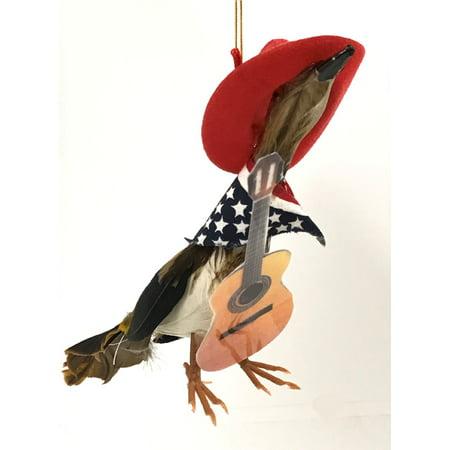 Guitar Christmas Tree Ornament - Roadrunner with Guitar and America Bandana Cowboy Hat Christmas Tree Ornament