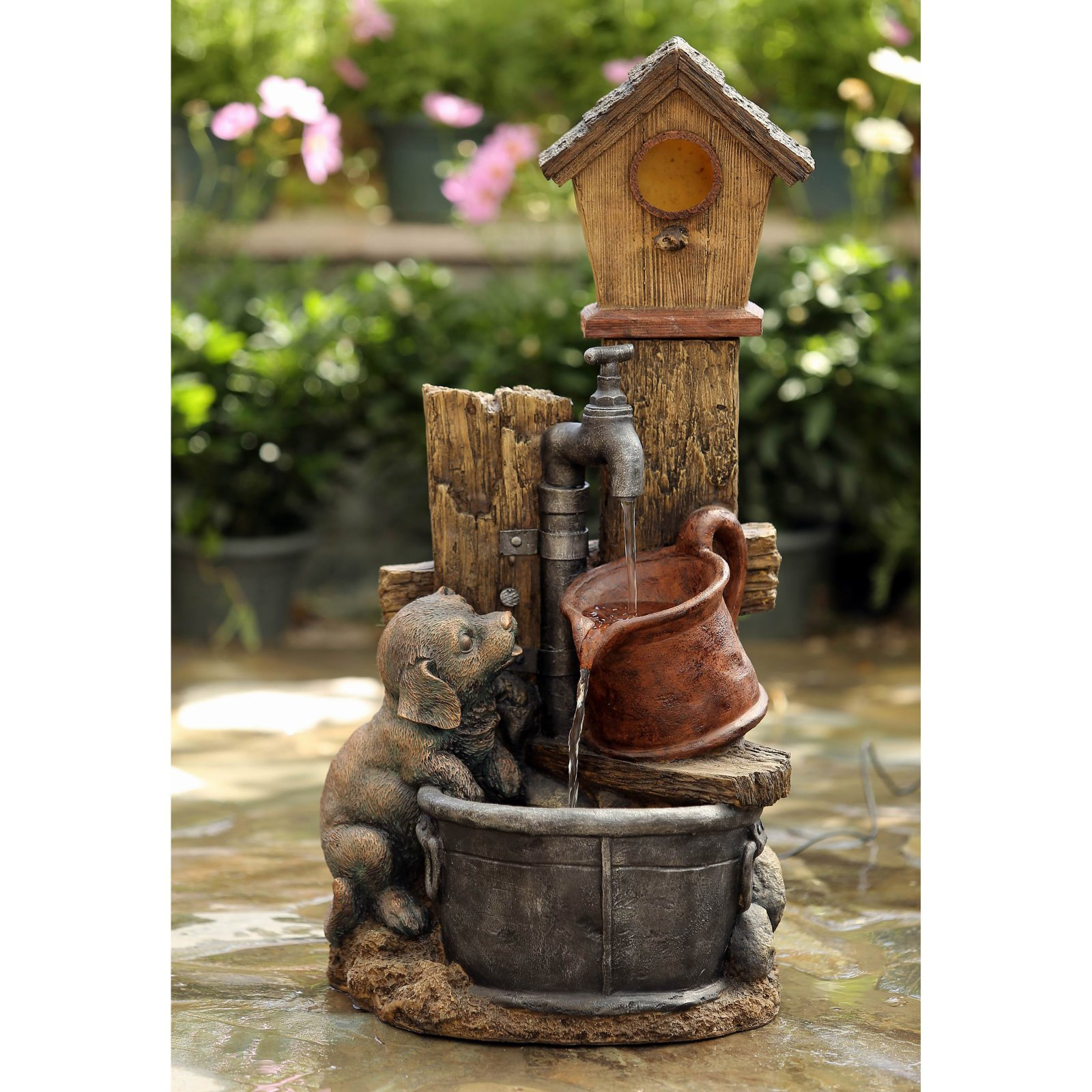 Jeco Birdhouse and Dog Indoor Outdoor Fountain by Bird Houses