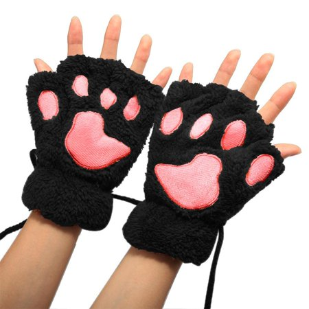 Arshiner Women Girls Comfy Soft Plush Cat Bear Paw Claw Design Winter Fingerless Gloves KMIMT - Cat Paw Gloves