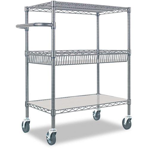 Alera Three Tier Wire Rolling Cart With Handle Black