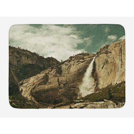 Yosemite Bath Mat, Waterfalls in Yosemite National Park California Famous Travel Destination, Non-Slip Plush Mat Bathroom Kitchen Laundry Room Decor, 29.5 X 17.5 Inches, Brown Reseda Green, Ambesonne