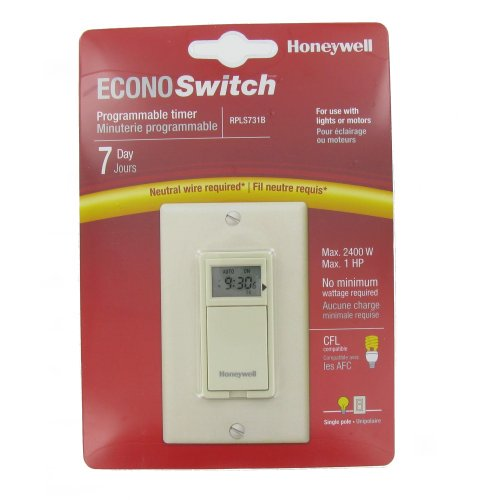 Honeywell 7 Day Programmable Light Switch Timer Almond Rpls731b1009 U