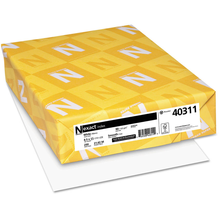 "Neenah Paper Exact Index Card Stock, 8.5"" x 11"", White, 250 Sheets"