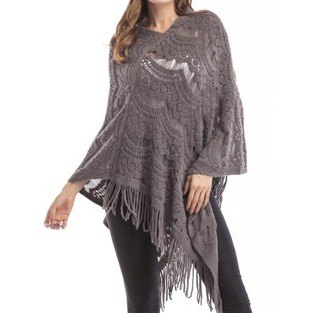 9e63fb28f Sexy Dance - Women Knit Batwing Top Tassel Shawl Poncho Cape Tassel Cloak  Cardigan Coat Sweater Jacket Outwear Hollow out - Walmart.com