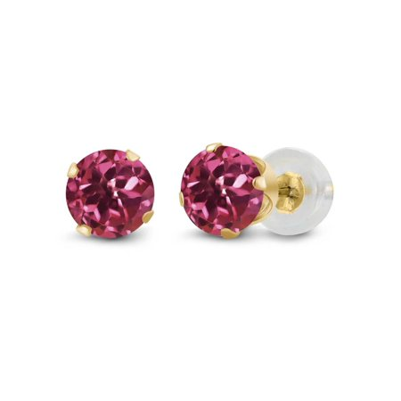 1.00 Ct Round Pink Tourmaline 14K Yellow Gold 4-prong Stud Earrings 5mm