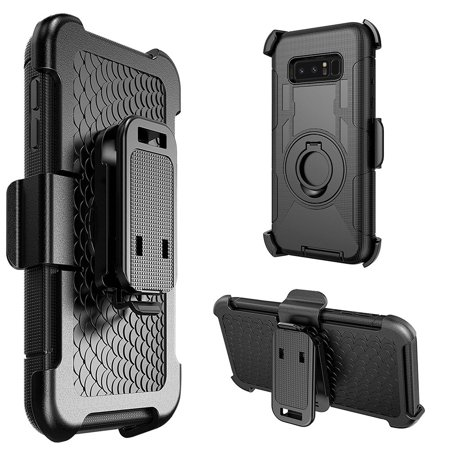 Samsung Galaxy Case,Rugged TUFF Hybrid Dual Layer Cover with Rotating Belt Clip Holster Back Case (Shockproof, Kickstand, Raised Bezel, PC Coating) for Samsung Galaxy Note 8 SM -N950U - Black/