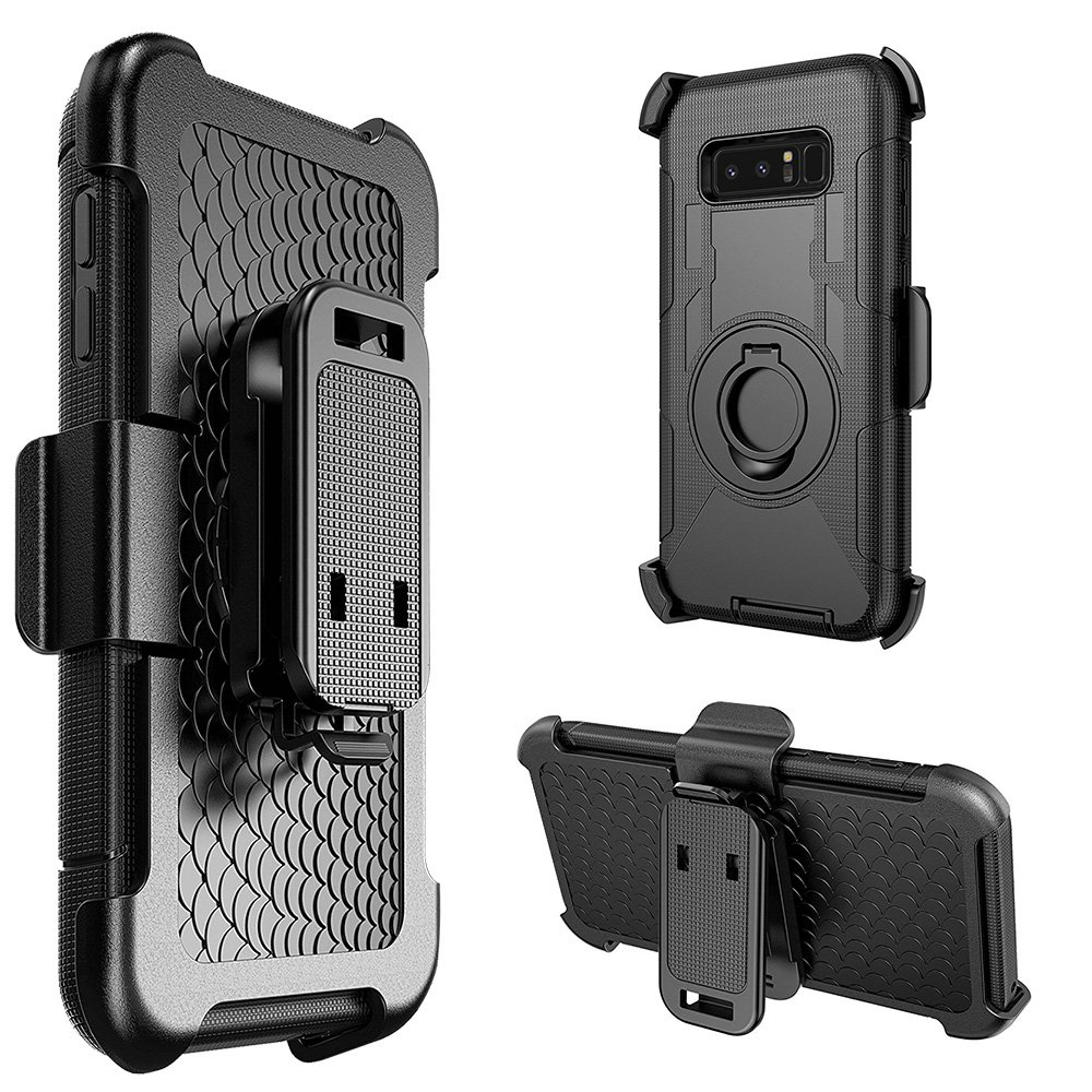 Samsung Galaxy Case,Rugged TUFF Hybrid Dual Layer Cover with Rotating Belt Clip Holster Back Case (Shockproof, Kickstand, Raised Bezel, PC Coating) for Samsung Galaxy Note 8 SM -N950U - Black/ Black
