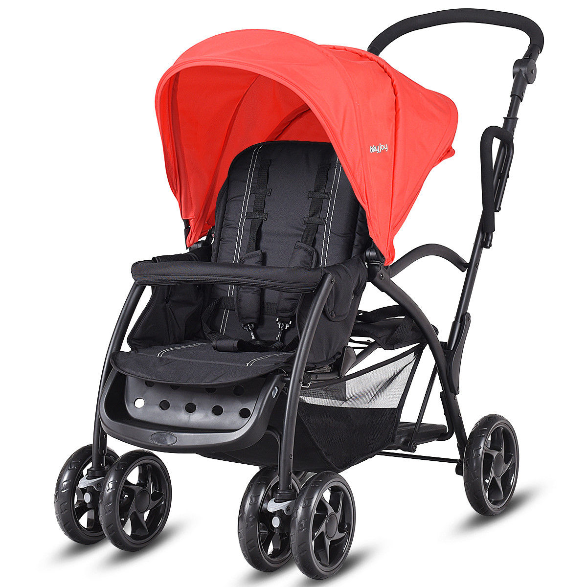 Costway Folding Baby Sit and Stand Ultra Tandem Stroller Pushchair Double Kids Red