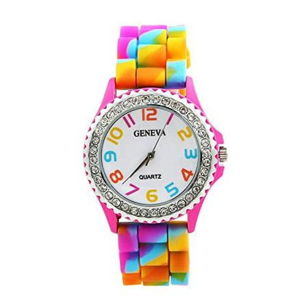 shot-in New Geneva Rainbow Crystal Rhinestone Watch Silicone Jelly Link Band