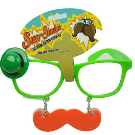 Sun Staches Green St Patricks Day Saint Pattys Lucky Irish Mustache Glasses Clear](St Patricks Day Glasses)