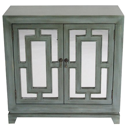 32' French Blue Mirrored Glass Sideboard with 2 Doors ()