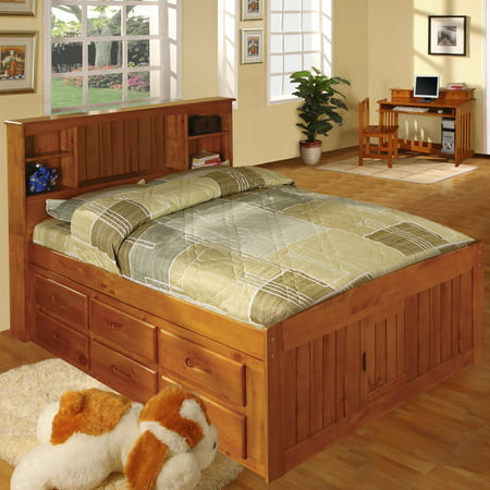 American Furniture Classics Model 2121-12-BCH, Solid Pine Bookcase Headboard Full Captains Bed with 12 Underbed Drawers in