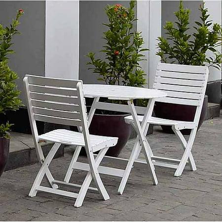 alston 3 piece outdoor bistro set white seats 2. Black Bedroom Furniture Sets. Home Design Ideas