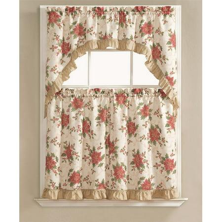 Christmas Poinsettia Holly 3 Pc Kitchen Curtain Tier