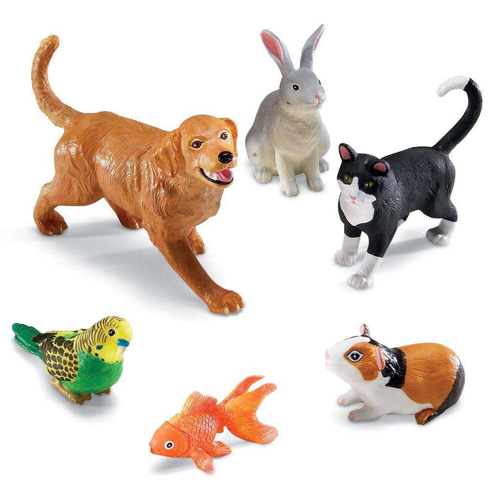 Learning Resources Jumbo Domestic Pets I Cat, Dog, Rabbit, Guinea Pig, Fish and Bird, 6 Animals by Learning Resources
