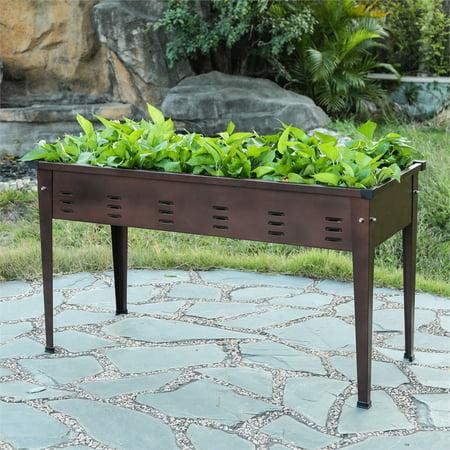 39.5in Metal Rectangular Raised Garden Planter ()