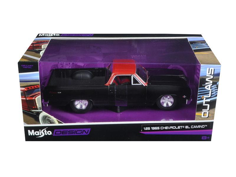 "1965 Chevrolet El Camino Matt Black ""Outlaws"" 1 25 Diecast Model Car by Maisto by"