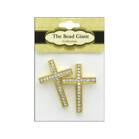 The Bead Giant Bead Rhinestone Cross Thin 2pc Gold](Giant Cross)