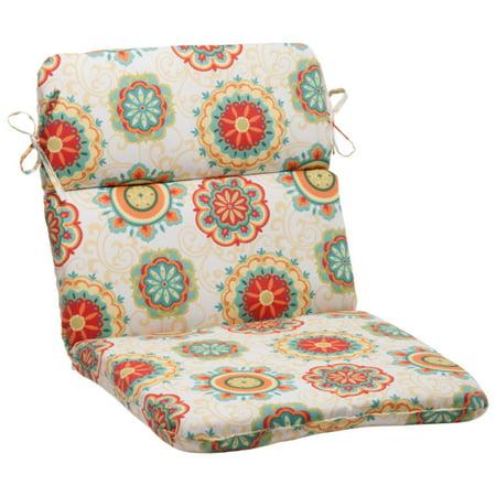 "40.5"" Retro Floral Medallion Outdoor Patio Round Chair ..."
