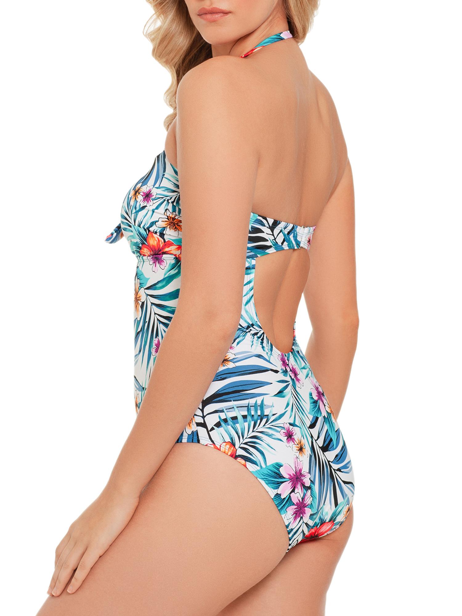 68b5ad58d2 Time and Tru - Women's Tropical Rainforest Bandeau One Piece Swimsuit -  Walmart.com