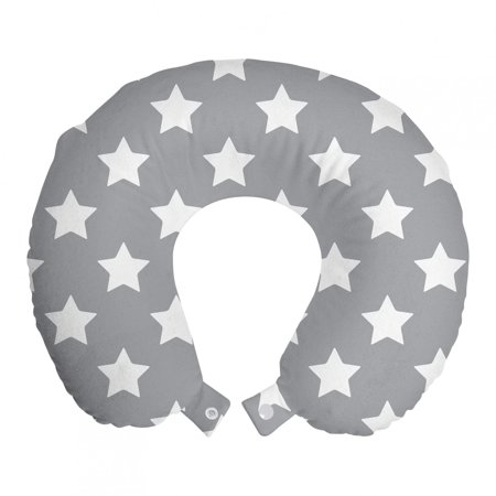 """Star Travel Pillow Neck Rest, Big Stars Pattern Monochrome Modern Baby Nursery Design Starry Night Themed, Memory Foam Traveling Accessory Airplane and Car, 12"""", Grey White, by Ambesonne"""