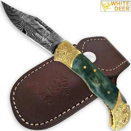 WHITE DEER Lockback Damascus Folding Knife Giraffe Bone Handle Engraved Bolster