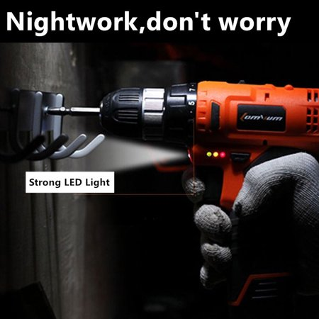 Electric Drill Hammer 12V LI-Ion Mini Cordless Driver Portable Variable Speed Power Tools Wrench 0-650R/MIN Home Decor Rechargeable Battery Screwdriver LED w/ Bits
