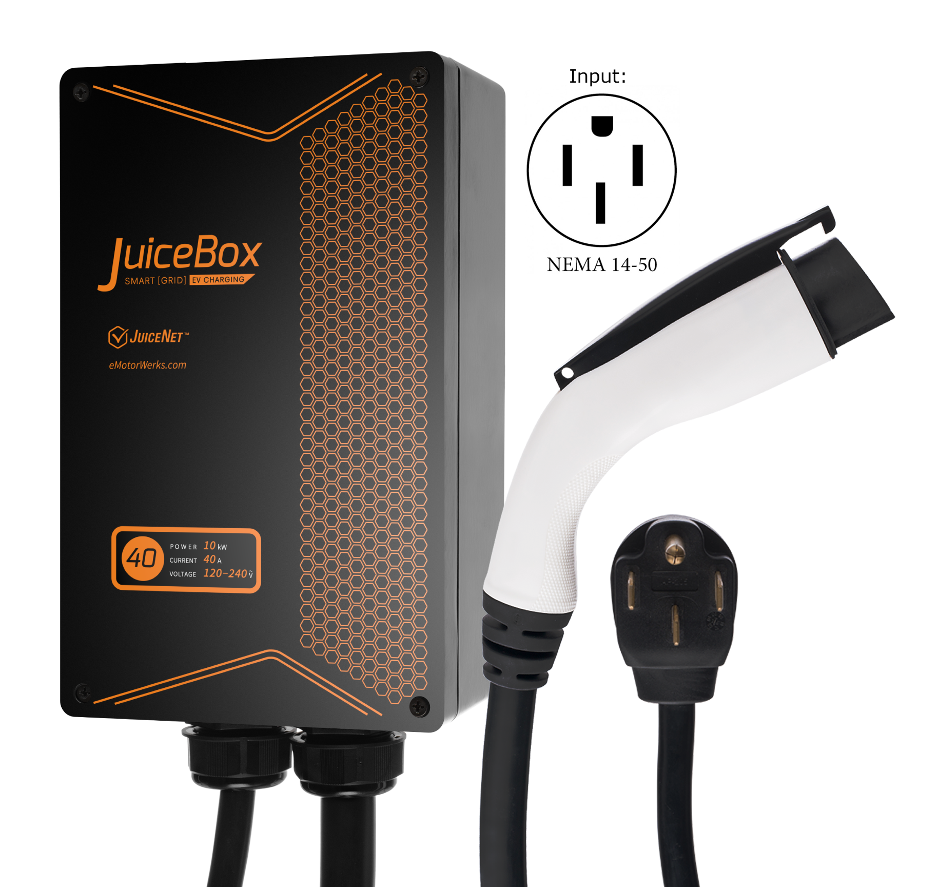 JuiceBox 40A Plug-in Electric Car Vehicle Charger/Charging Station with 24' Cable and NEMA 14-50 Plug JB40
