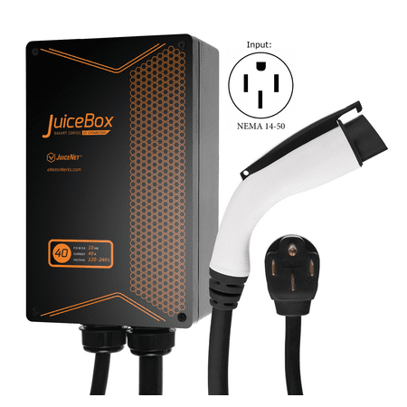 40a Cable - JuiceBox 40A Plug-in Electric Car Vehicle Charger/Charging Station with 24' Cable and NEMA 14-50 Plug