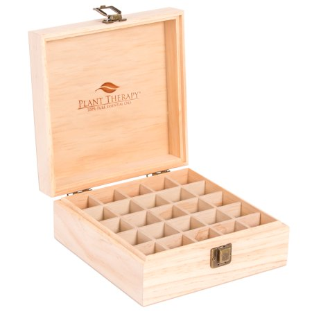 Wood Storage Case (Plant Therapy Essential Oil Storage Box Case | Pine Wood Organizer Holds 25 Bottles 5 mL, 10 mL and 15 mL)