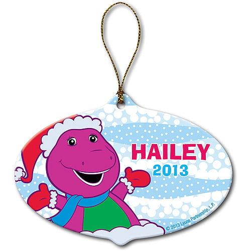 Personalized Barney Santa White Christmas Ornament