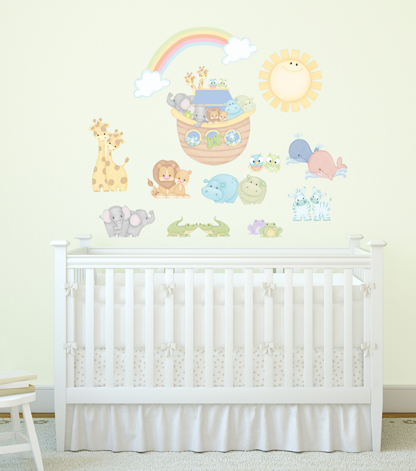 Noah S Blue Pastel Pairs With Ark And Animals Super Jumbo Applique Wall Decals Walmart Com Walmart Com