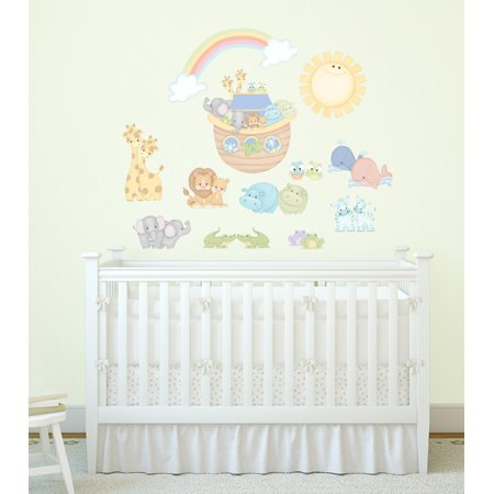 Noah's Blue Pastel Pairs with Ark and Animals Super Jumbo Applique Wall
