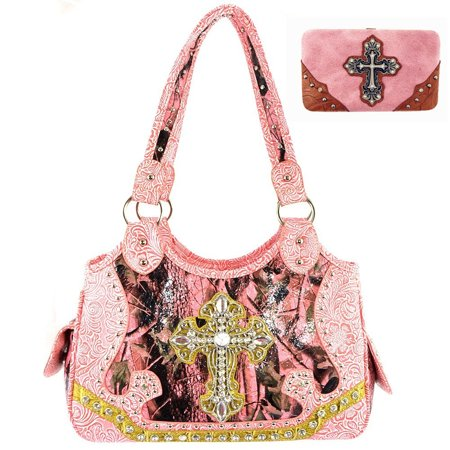 Leather Rhinestone Cross (Premium Rhinestone Camouflage Cross Leather Women's Handbag Purse Matching Wallet One Set in Multi Colors )