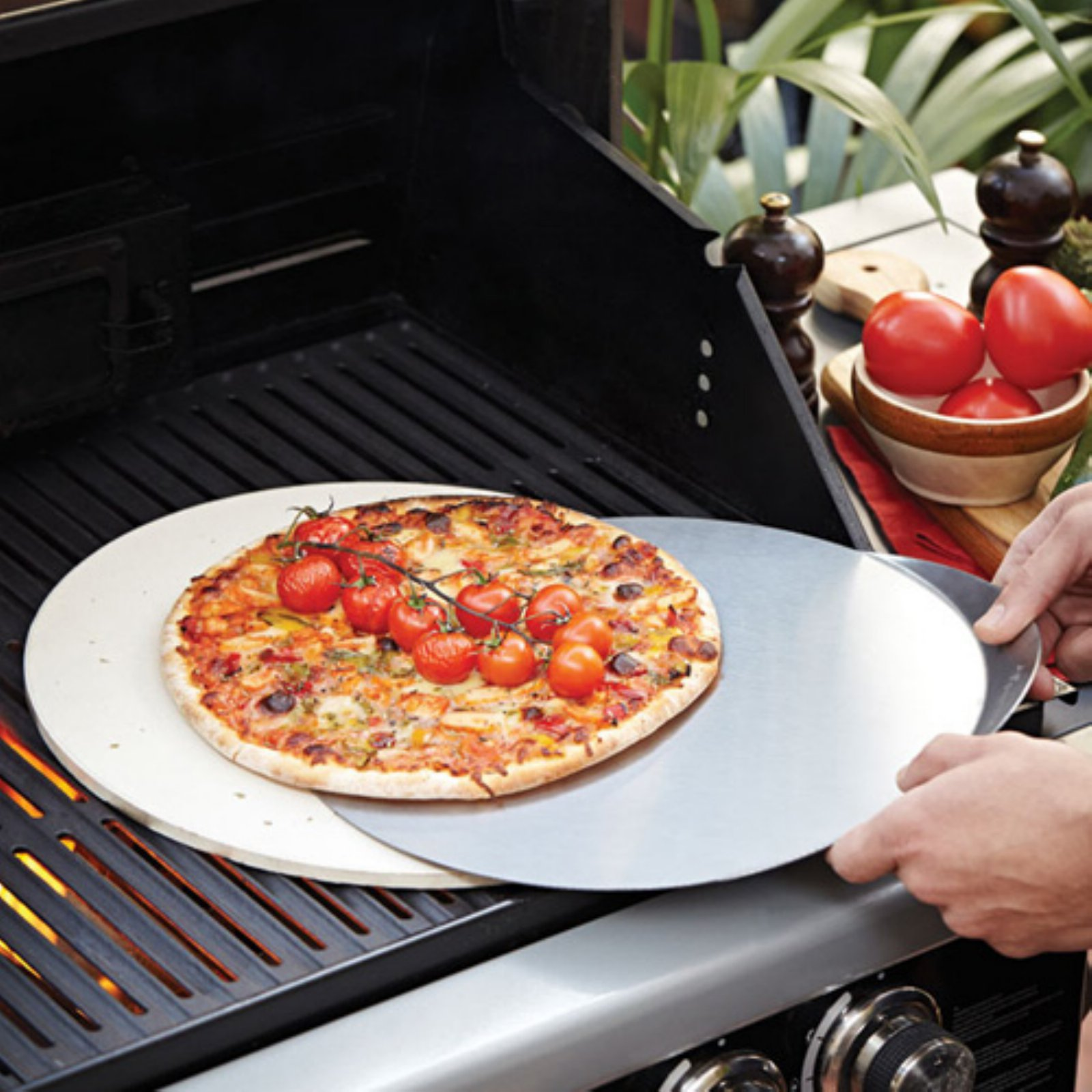 Fervor Stainless Steel Pizza Stone and Cutter Set by