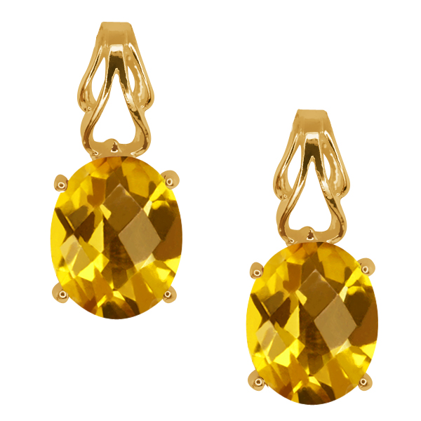 3.20 Ct Checkerboard Citrine Gold Plated Sterling Silver Earrings