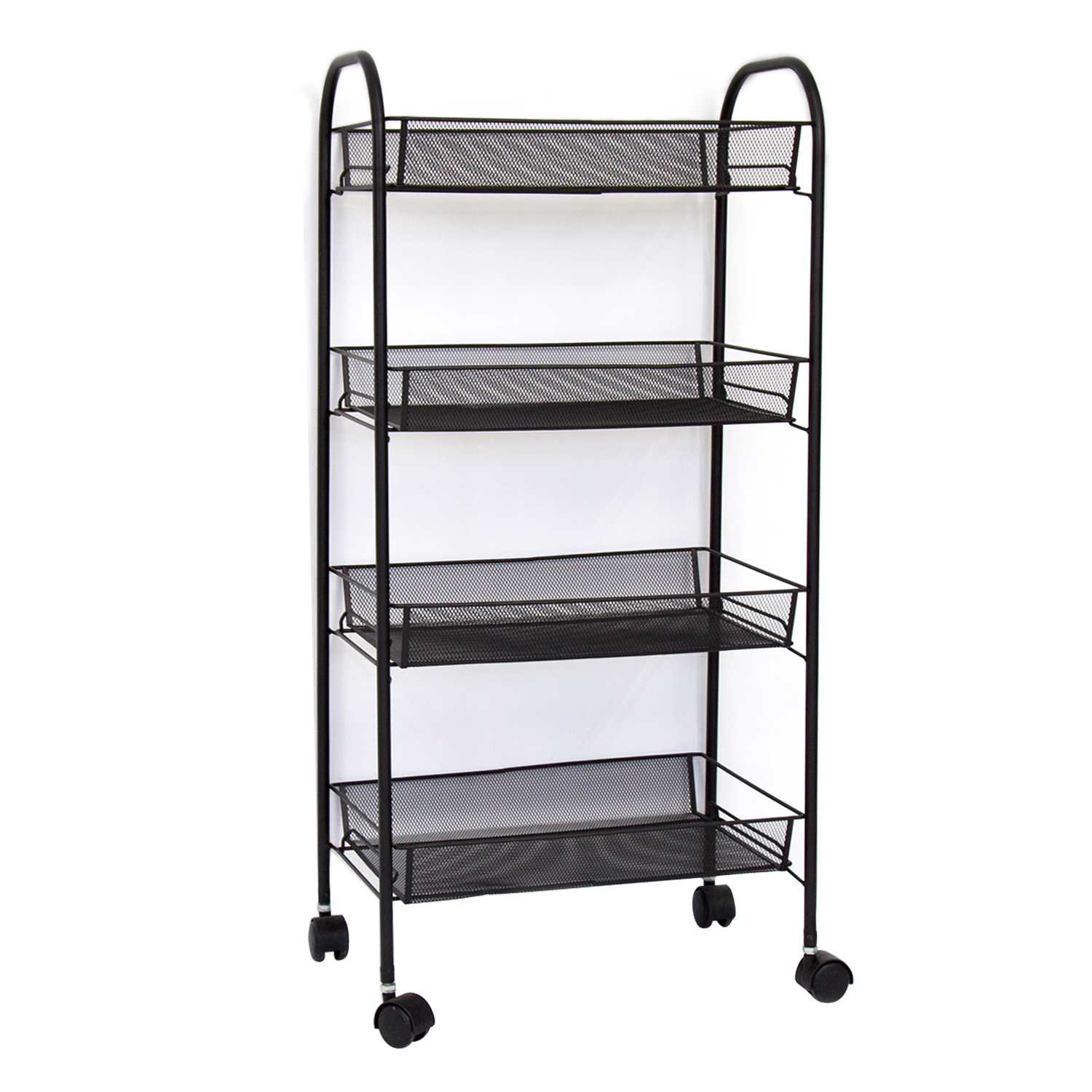 Kinbor 4 Tire Metal Mesh Rolling Cart Kitchen Office Organizer Movable  Household Storage Unit With