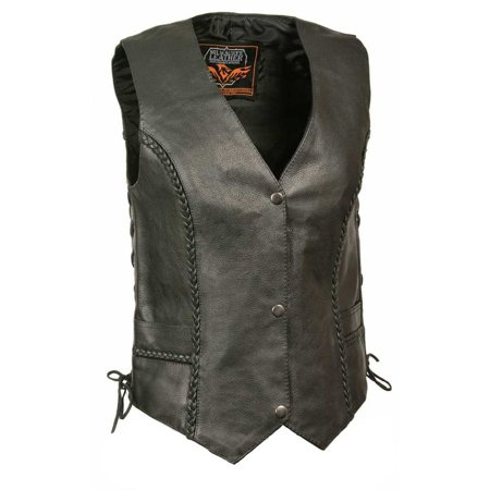 Milwaukee Leather Women's Braided Side Lace Vest w/ Buffalo Snaps ML1255