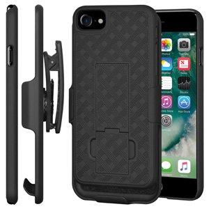 Premium Shell Holster Combo Slim Shell Case Built in Kickstand + Swivel Belt Clip Holster for iPhone 7 - Black