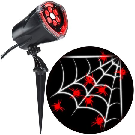 LED Projection Plus Whirl-a-Motion Red Spider with White Web Indoor/Outdoor Stake Light, Luminous images of spiders are perfect for Halloween decorating By Gemmy