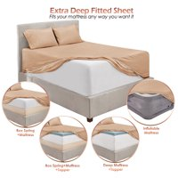 """Premium 1800 Collection 18"""" - 21"""" Extra Deep Pocket Fitted Sheet, Fits High Profile Mattresses with Toppers, Double Brushed Soft Microfiber, Hypoallergenic, Availible in King Queen Full Twin & Twin XL"""